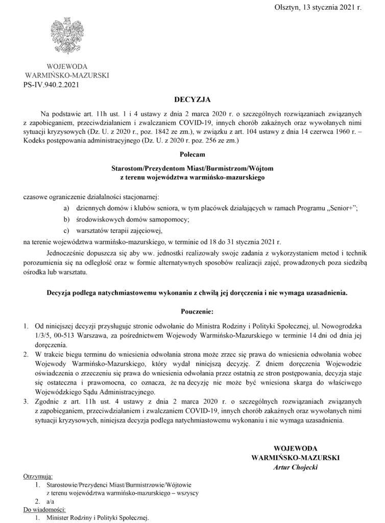 Decyzja Wojewody W-M z 13 stycznia 2021 r