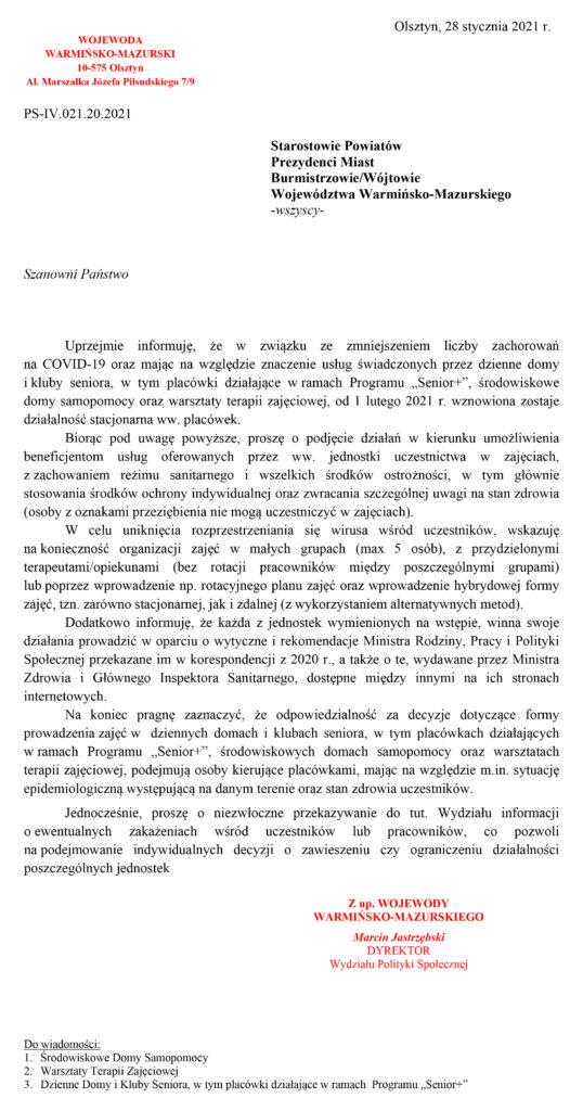 Pismo ws. wznowienia działalności od 01.02.2021