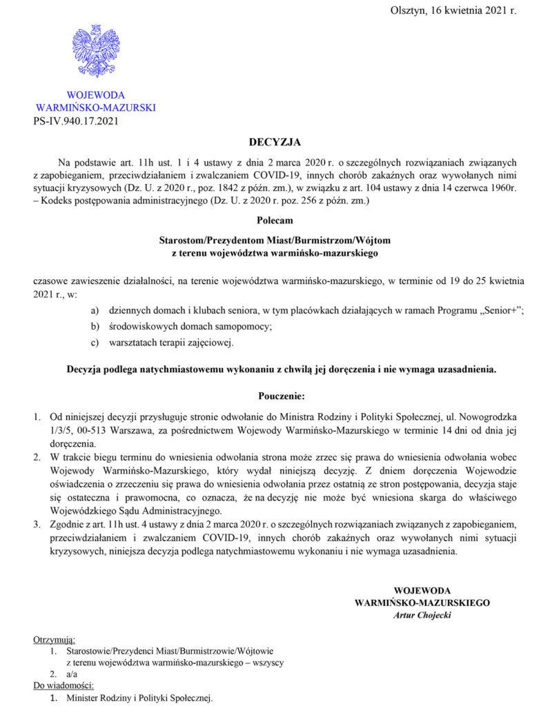 Decyzja Wojewody W-M z 16 kwietnia 2021 r